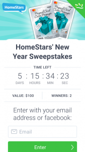 Homestars – Win One of Two $100 Mastercard Gift Cards (prize valued at $200)