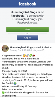 Hummingbird Sings – Win a Hand-Made Hummingbird Sings Own Shopper