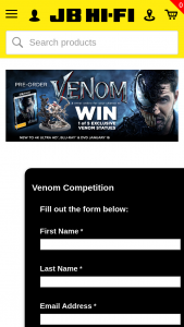 JB HiFi Pre-order Venom for a chance to – Win One of Five Exclusive Venom Statues (prize valued at $1,250)