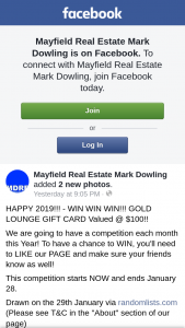 Mayfield Real Estate Mark Dowling – Win a Reading Cinemas Gold Lounge Gift Card (prize valued at $100)