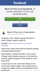 Mum to Five – Win a Belkin Family Rockstar 4 Point Charger Valued at $69.95 (prize valued at $69.95)
