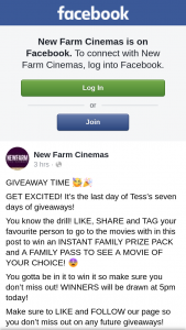 New Farm Cinemas – Win an Instant Family Prize Pack and a Family Pass to See a Movie of Your Choice