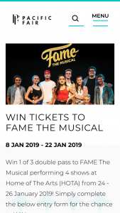Pacific Fair Shopping Centre – Win 1 of 3Double Pass to Fame The Musical Performing 4 Shows at Home of The Arts (hota) From 24