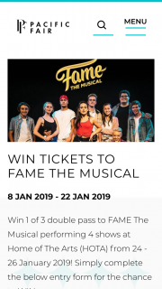 Pacific Fair Shopping Centre – Win 1 of 3 Double Pass to Fame The Musical Performing 4 Shows at Home of The Arts (hota) From 24