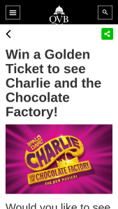 QVB – Win a Charlie & The Chocolate Factory Experience (prize valued at $5,000)
