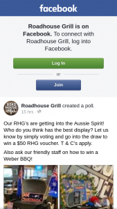 Roadhouse Grill – Win a $50 Rhg Voucher (prize valued at $50)
