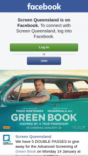 Screen Queensland – for The Advanced Screening of Green Book on Monday 14 January at Event Cinemas at 630pm