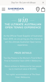 Sheridan – Win an The Ultimate Australian Open Tennis Experience (prize valued at $2,500)