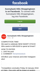 Sunnybank Hills Shoppingtown – Win $100 to Spend at Kmart