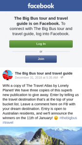 The Big Bus – Win a Copy of The Travel Atlas By Lonely Planet (prize valued at $64)
