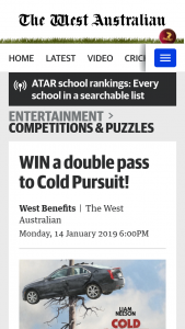 The West WA -Subscribers – Win a Double Pass to Cold Pursuit (prize valued at $40)