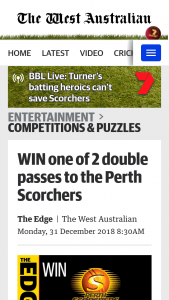 The West – Win One of 2 Double Passes to The Perth Scorchers January 13 Game at Optus Stadium