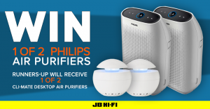 JB Hi-Fi – Win 1 of 2 Philips Air Purifiers OR 1 of 2 Cli-mate Desktop Air Purifiers
