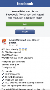 Azumi Mini Mart – Win $50 Worth Vouchers (prize valued at $100)