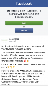 Booktopia – Win a Pass to One of The 'a Romance Rendezvous' Events Across Australia