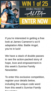 Channel 7 – Sunrise – Win One of Twenty-Five Alita Battle Angel