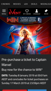 Event Cinemas – Win a Private Screening of Avengers (prize valued at $1,500)