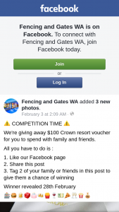 Fencing & Gates WA – $100 Crown Resort Voucher for You to Spend With Family and Friends (prize valued at $100)