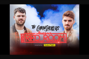 Nova FM Smallzy's sending you to Nova's Red Room to see The Chainsmokers – Win One (1) Prize Each