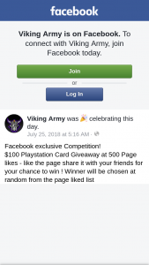 $100 Playstation Card Giveaway at 500 Page likes from Viking Army – Competition