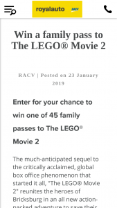 RACV – Win One of 45 Family Passes to The Lego® Movie 2