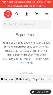 Redballoon – Win 1 of 25 $100 Vouchers
