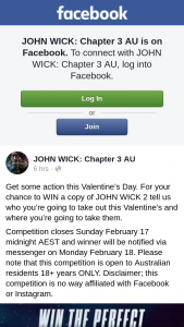 StudioCanal-John Wick Chapter 3 – Win a Copy of John Wick 2 Tell Us Who You're Going to Take Out this Valentine's and Where You're Going to Take Them
