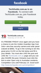 Techguide – Win The Uniden Guardian App Cam Solo Wire-Free Security Camera and Solar Panel (valued at $360). (prize valued at $360)