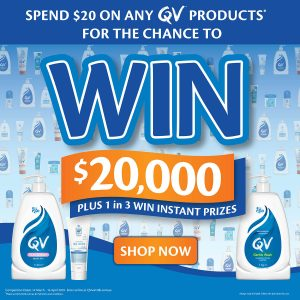 Ego Pharmaceuticals – QV Products – Win a grand prize of $20,000 OR 1 of 3 Instant Win prizes