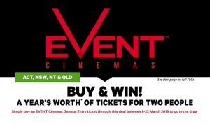 Groupon – Event Cinemas – Win a Year's worth of tickets for 2 people valued at $2,444