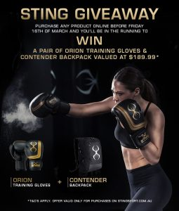 Sting Sports – Win a pair of Orion Training Gloves & Contender Backpack valued at $189.99