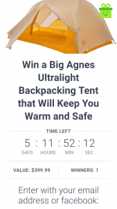 Adventure Alan – Win a Big Agnes Ultralight Backpacking Tent (prize valued at $400)