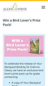 Allen & Unwin – Win a Copy of Your Backyard Birds (prize valued at $55)