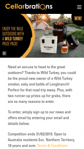 Cellarbrations – Win a Wild Turkey Outdoor Prize Pack Or 1/2 R/up Prize Prizes (prize valued at $806)