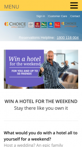 Choice Hotels – Win a Hotel for The Weekend (prize valued at $13,000)