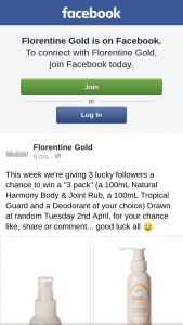 "Florentine Gold – Win a ""3 Pack"" (a 100ml Natural Harmony Body & Joint Rub"