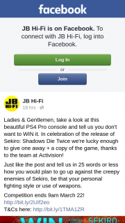 JB HiFi – Win a PS4 Pro Console & a Copy of Sekiro Shadows Die Twice Game