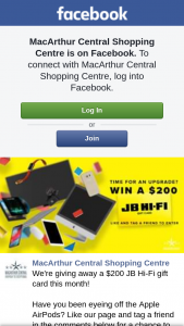 MacArthur Central – a $200 Jb Hi-Fi Gift Card this Month (prize valued at $200)