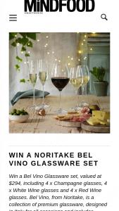 MindFood – Win a Bel Vino Glassware Set (prize valued at $294)