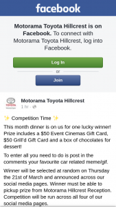Motorama Toyota Hillcrest Brisbane – a $50 Event Cinemas Gift Card