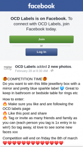 OCD Labels – Win this Little Jewellery Box With a Mirror and Pretty Blue Sparkle Label