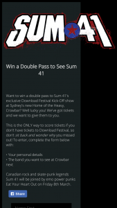 OzTicket – Win a Double Pass to Sum 41's Exclusive Download Festival Kick-Off Show at Sydney's New Home of The Heavy