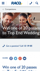 RACQ – Win One of 20 In-Season Double Passes to Top End Wedding (prize valued at $36)