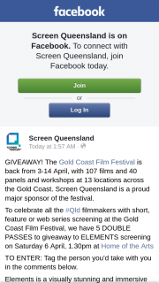 Screen Queensland – to Elements Screening on Saturday 6 April