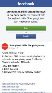 Sunnybank Hills Shoppingtown – 5 X Barbie Playsets Valued at $29each