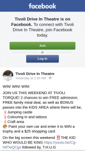 Tivoli Drive-In Theatre – Win a Trophy and a $25 Shopping Card