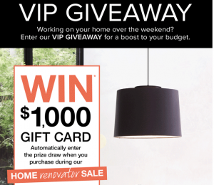 Beacon Lighting – Win a grand prize of $1,000 Beacon gift card OR 1 of 4 minor prizes
