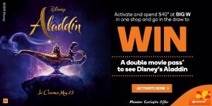 Woolworths Rewards – Win 1 of 150 double passes to see Disney's Aladdin valued at $44 each