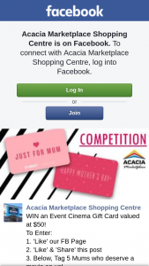 Acacia Ridge Marketplace SC – Win an Event Cinema Gift Card Valued at $50 (prize valued at $50)