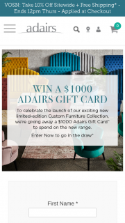 Adairs – Win a $1000 Adairs Gift Card Competition (prize valued at $1,000)